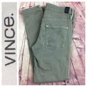 💙VINCE Mason Rolled green distressed skinny pant